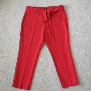 Loft red cropped pants with belt